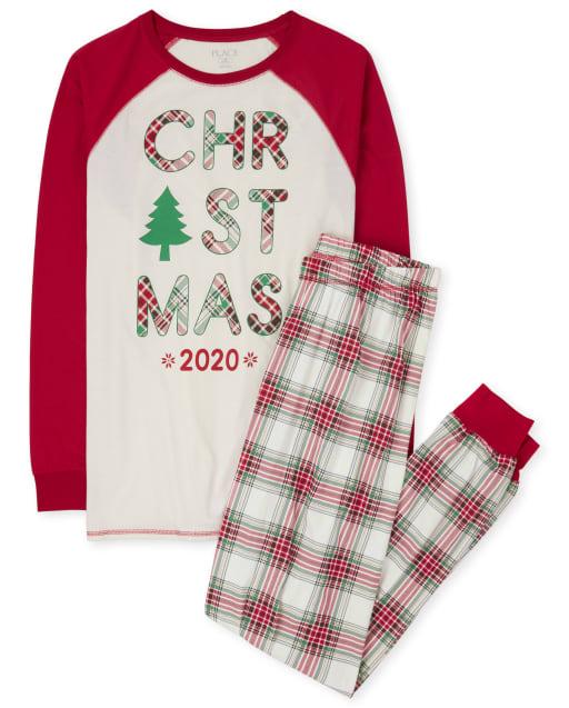 Pijama de algodón de tartán navideño con manga raglán larga de Navidad a juego para adultos unisex