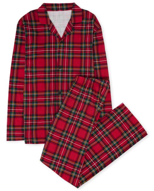 Pijama de algodón de tartán familiar de manga larga a juego para adultos unisex