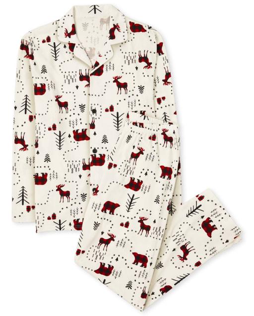 Pijama de algodón de bosque de invierno de manga larga de Navidad familiar a juego para adultos unisex
