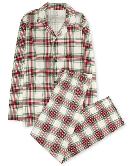 Pijama de algodón de tartán navideño de manga larga de Navidad familiar a juego para adultos unisex