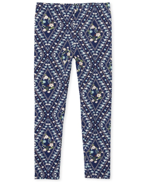 Girls Diamond Floral Print Knit Leggings
