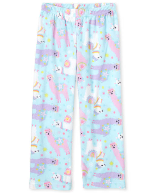 Girls Llama Print Fleece Pajama Pants