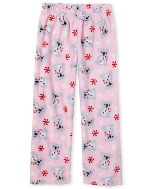 Girls Candy Cane Koala Print Fleece Pajama Pants