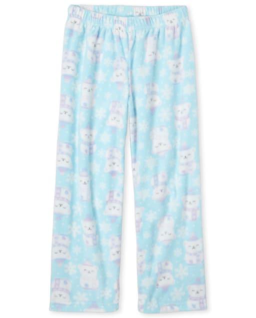 Girls Polar Bear Print Fleece Pajama Pants