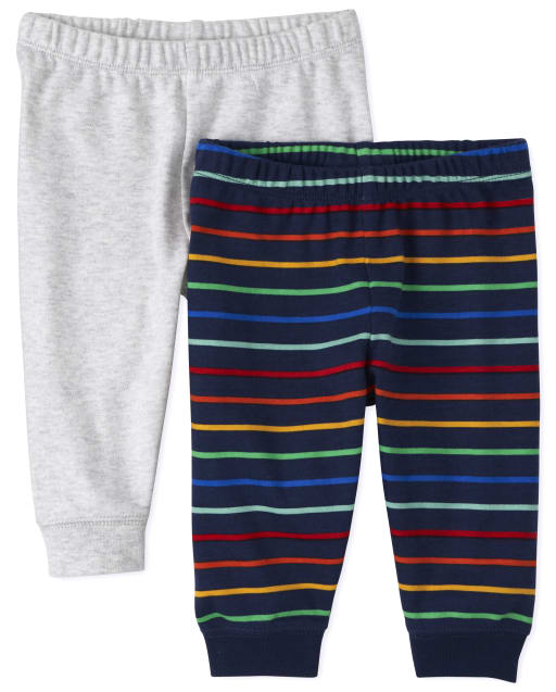 Baby Boys Striped And Solid Knit Pants 2-Pack