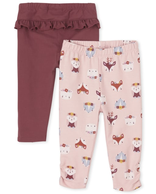 Baby Girls Owl Print And Ruffle Knit Pants 2-Pack