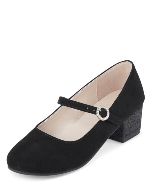 Zapatos de tacón con purpurina de gamuza para niñas