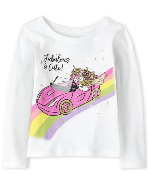 Baby And Toddler Girls Long Sleeve 'Fabulous & Cute!' Unicorn Graphic Tee