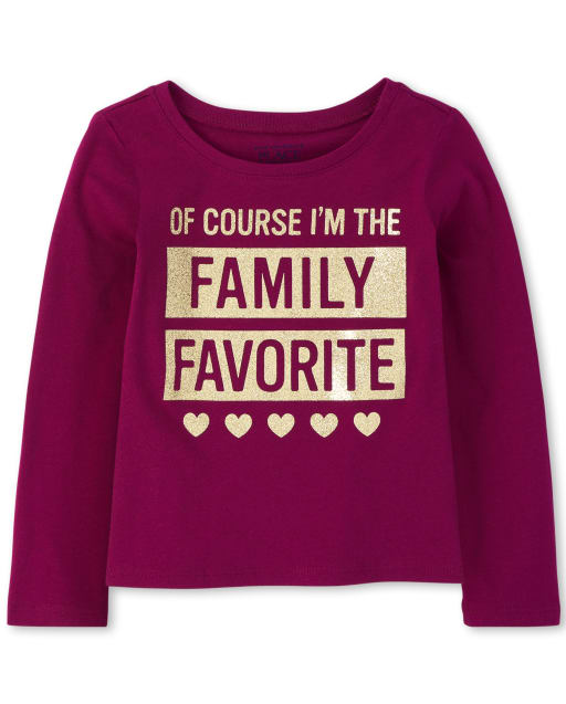 Baby And Toddler Girls Long Sleeve Glitter 'Of Course I'm The Family Favorite' Graphic Tee
