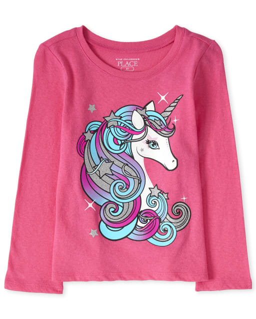 Baby And Toddler Girls Long Sleeve Glitter Unicorn Graphic Tee