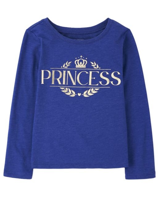 Baby And Toddler Girls Matching Family Long Sleeve Foil 'Princess' Royal Graphic Tee