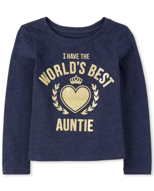 Baby And Toddler Girls Long Sleeve Glitter 'I Have The World's Best Auntie' Graphic Tee