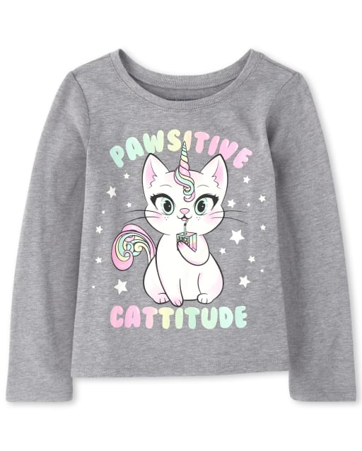 Baby And Toddler Girls Long Sleeve Rainbow 'Pawsitive Cattitude' Caticorn Graphic Tee