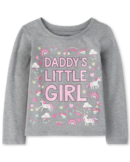 Baby And Toddler Girls Long Sleeve 'Daddy's Little Girl; Unicorn And Rainbow Graphic Tee
