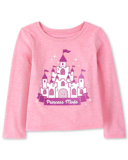 Baby And Toddler Girls Long Sleeve Glitter 'Princess Mode' Castle Graphic Tee