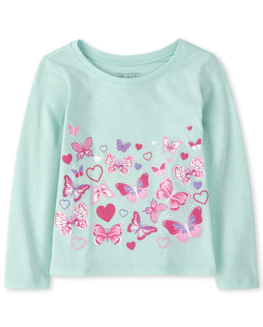 Baby And Toddler Girls Long Sleeve Butterfly Graphic Tee