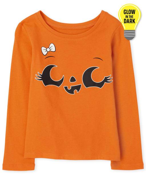 Baby And Toddler Girls Halloween Long Sleeve Glow In The Dark Pumpkin Graphic Tee