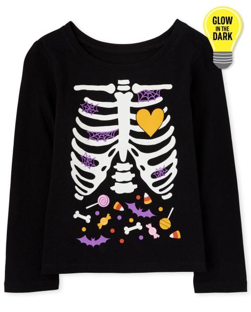 Camiseta estampada a juego con esqueleto de caramelo Glow Candy de Halloween para bebés y niñas pequeñas