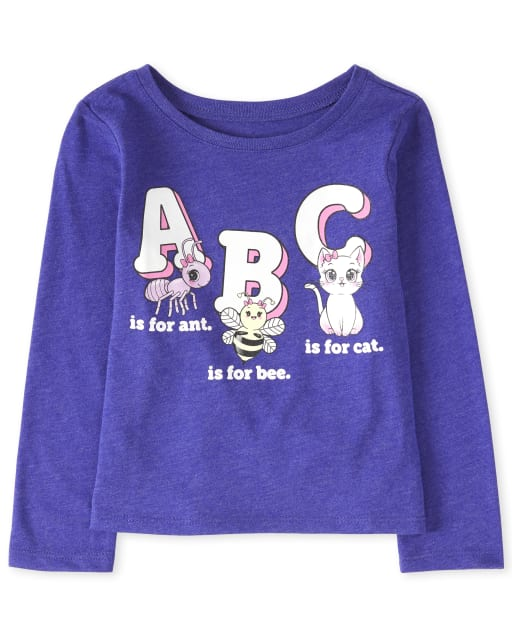 Baby And Toddler Girls Long Sleeve 'ABC' Graphic Tee