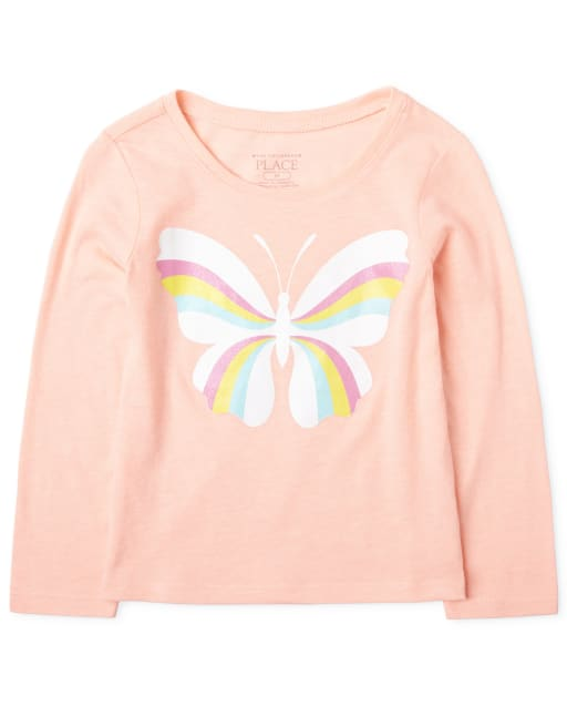 Baby And Toddler Girls Long Sleeve Rainbow Butterfly Graphic Tee