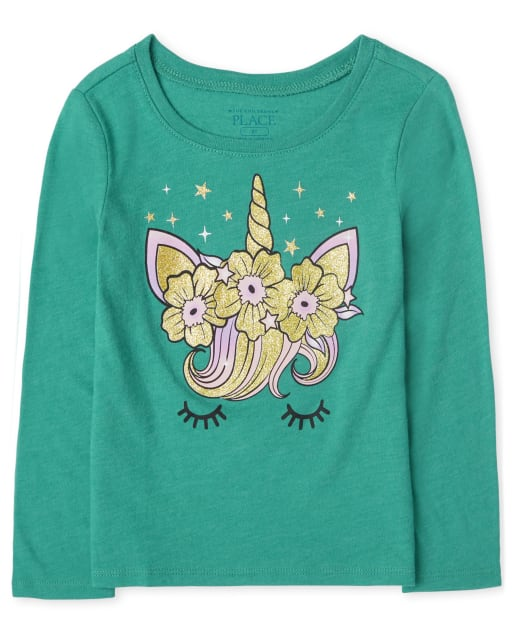 Toddler Girls Long Sleeve Unicorn Face Graphic Tee