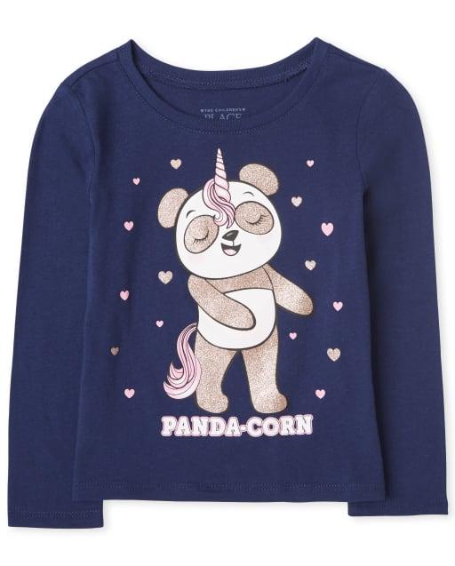Baby And Toddler Girls Long Sleeve Glitter 'Panda-corn' Graphic Tee