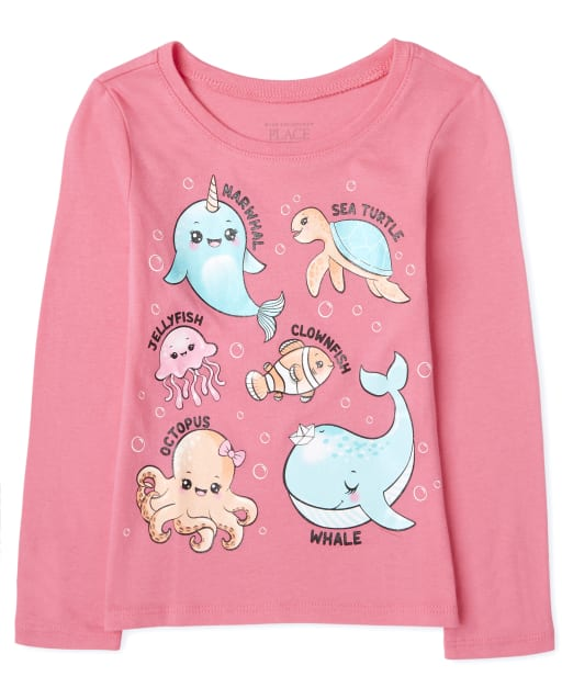 Baby And Toddler Girls Long Sleeve Sea Animals Graphic Tee