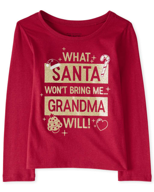Baby And Toddler Girls Christmas Long Sleeve Glitter Grandma Graphic Tee