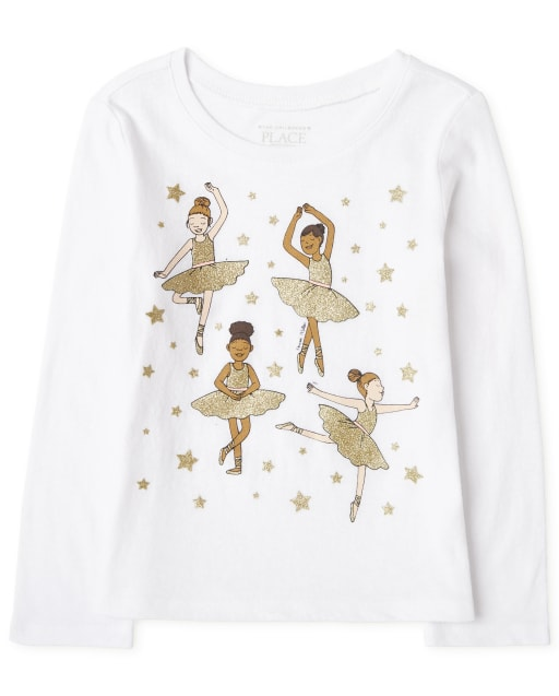 Baby And Toddler Girls Long Sleeve Ballerina Graphic Tee