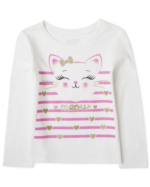 Baby And Toddler Girls Long Sleeve 'Meow' Cat Striped Graphic Tee