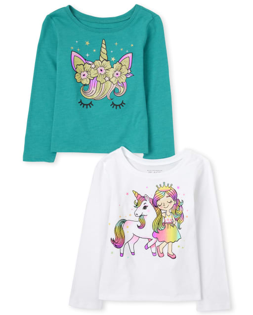 Baby And Toddler Girls Long Sleeve Unicorn Graphic Tee 2-Pack