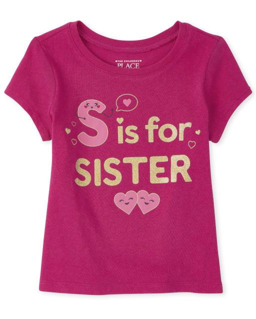 Camiseta estampada para hermanas de bebés y niñas pequeñas