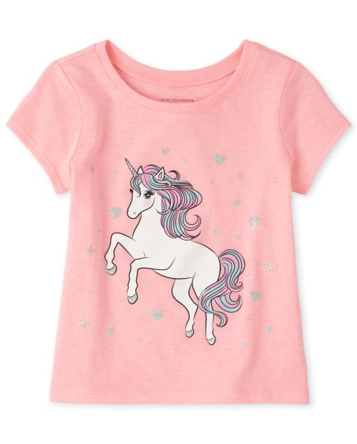 Baby And Toddler Girls Short Sleeve Unicorn Graphic Tee