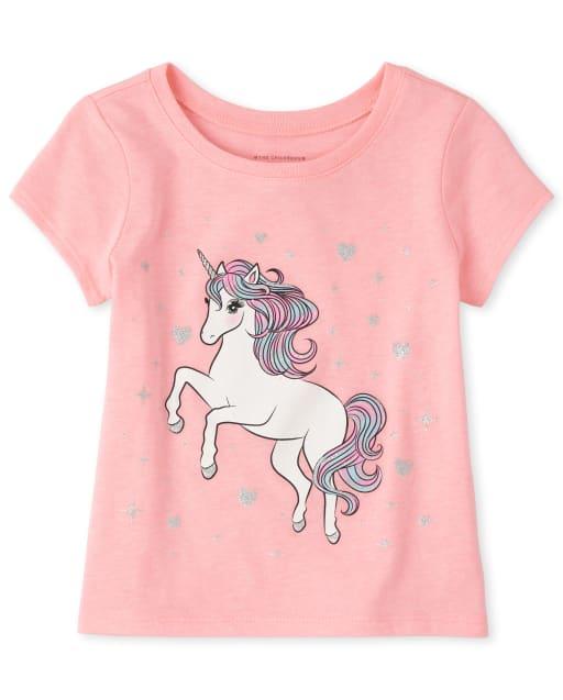 Camiseta estampada de unicornio para bebés y niñas pequeñas