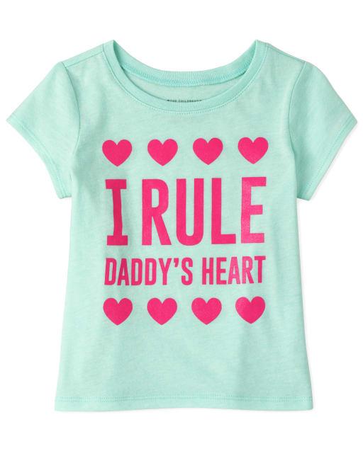 Camiseta estampada con forma de corazón para bebés y niñas pequeñas Daddy ' s