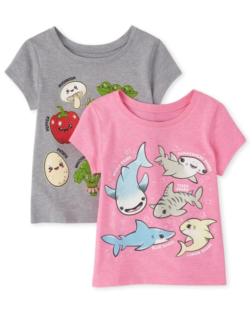 Baby And Toddler Girls Short Sleeve Queen Graphic Tee 2-Pack