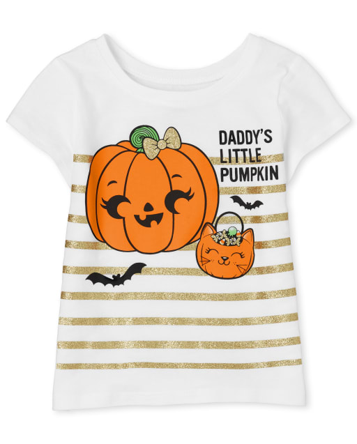 Baby And Toddler Girls Halloween Short Sleeve 'Daddy's Little Pumpkin' Graphic Tee