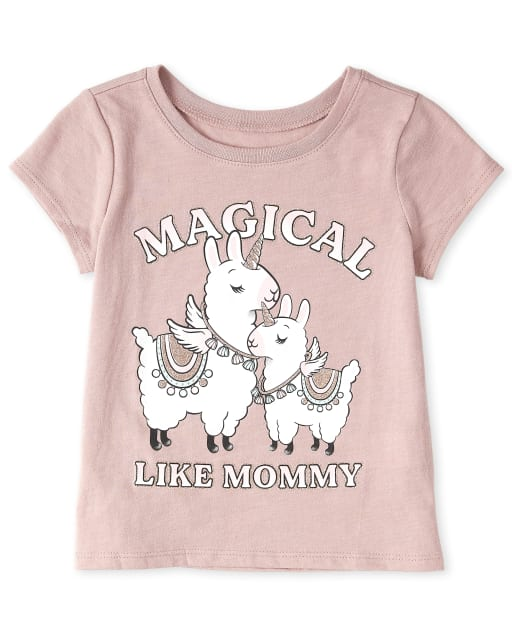 Baby And Toddler Girls Short Sleeve 'Magical Like Mom' Graphic Tee
