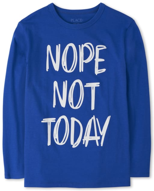 Boys Long Sleeve 'Nope Not Today' Graphic Tee