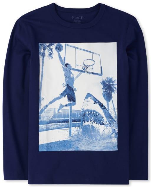 Boys Long Sleeve Shark Basketball Graphic Tee