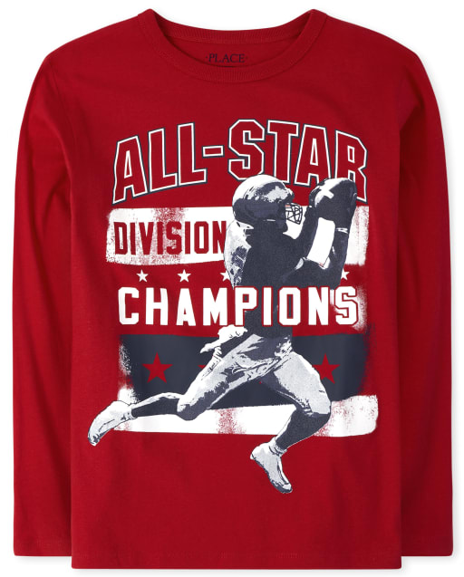 Boys Long Sleeve 'All Star Division Champions' Football Graphic Tee