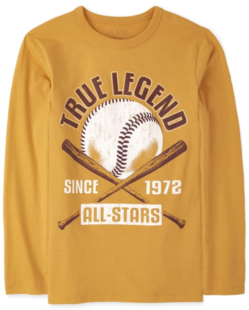 Boys Long Sleeve 'True Legend Since 1972 All Stars' Baseball Graphic Tee