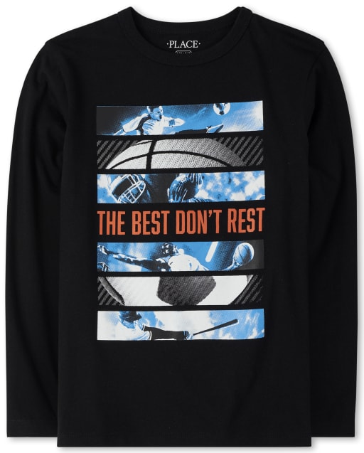 Boys Long Sleeve 'The Best Don't Rest' Sports Graphic Tee