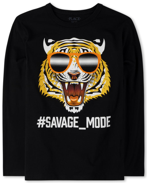 Boys Long Sleeve 'Hashtag Savage Mode' Tiger Graphic Tee
