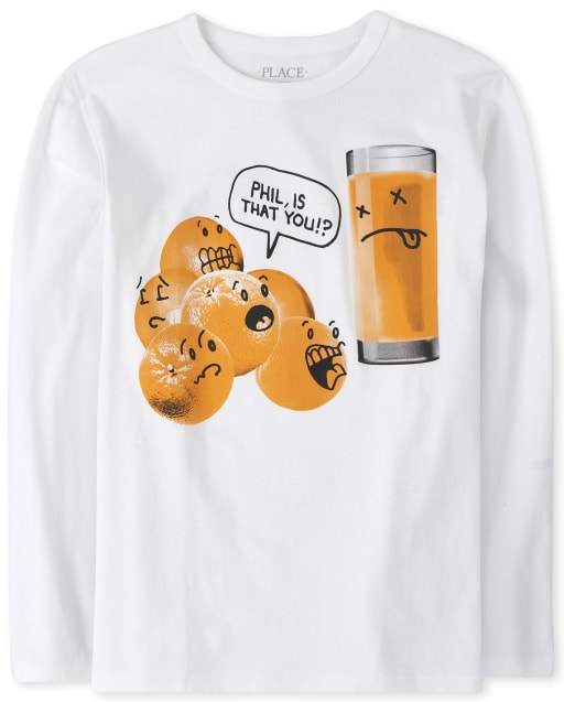 Boys Long Sleeve 'Phil Is That You' Orange Juice Graphic Tee