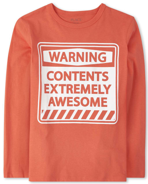 Boys Long Sleeve 'Warning Contents Extremely Awesome' Graphic Tee