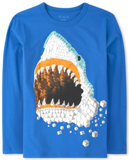 Boys Long Sleeve Shark Graphic Tee