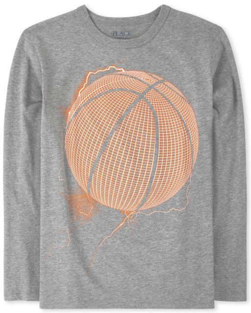 Boys Long Sleeve Basketball Graphic Tee