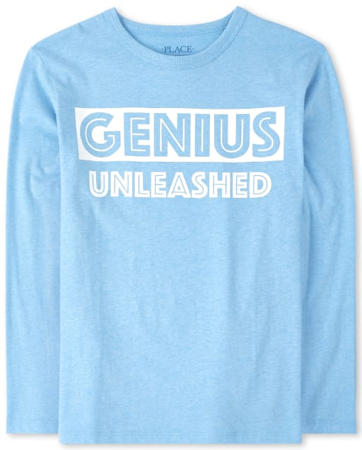 Boys Long Sleeve 'Genius Unleashed' Graphic Tee