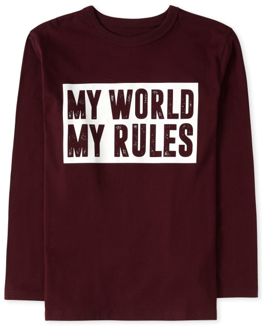 Boys Long Sleeve 'My World My Rules' Graphic Tee
